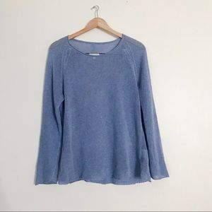 Eileen Fisher Light Blue Linen Knit Sweater Top M